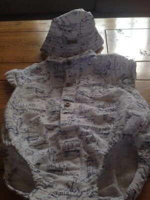 A Cute Boys Romper Suit From Next 0-3 Mths In White & Navy With Matching Hat