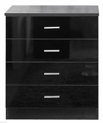 Black Ossotto High Gloss 4 Drawer Chest