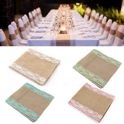 30cmx280cm Vintage Rustic Burlap Hessian Lace Table Runners Wedding Decoration