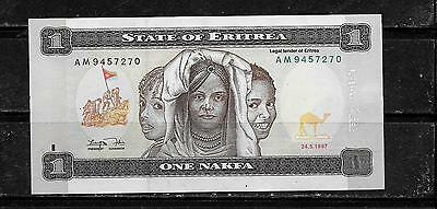 Eritrea #1 1997 Unc Nakfa Banknote Bill Note Currency Paper Money