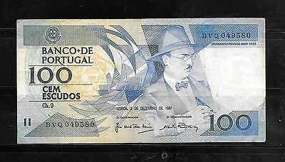 PORTUGAL #178d 1987 VG CIRC OLD 100 ESCUDOS BILL BANKNOTE PAPER MONEY CURRENCY