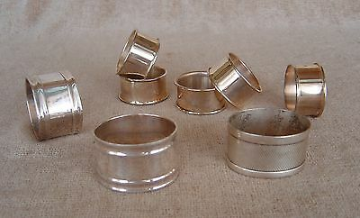 Antique Silver-Silverplate Napkin Rings Lot of 8 Free Shipping