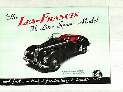 1950 Lea-Francis 2 1/2 Litre Sports Model Deluxe Color Brochure - United Kingdom