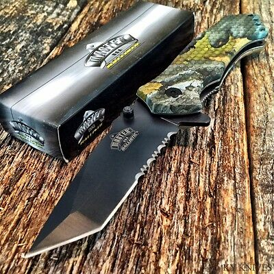 MASTER BALLISTIC Tanto TACTICAL Spring Assisted Open Pocket Knife NEW Camo -TH