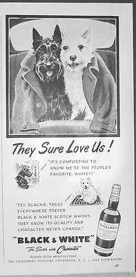 1953 Scotty & Westie Black & White Scotch THEY SURE LOVE US print Ad