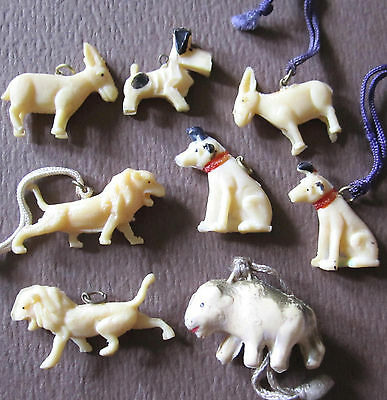 Antique Celluloid Animal Charm Lot Cracker Jacks Nipper Scotty Dog Etc