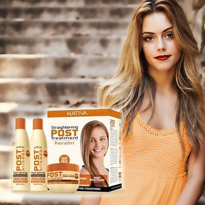 Kativa Post Keratin Behandlung Shampoo + Conditioner + Treatment 3 x 250 ml