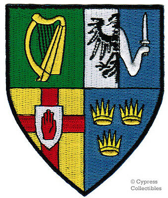 IRELAND FLAG SHIELD PATCH IRISH Coat of Arms EMBROIDERED IRON-ON PROVINCES EIRE