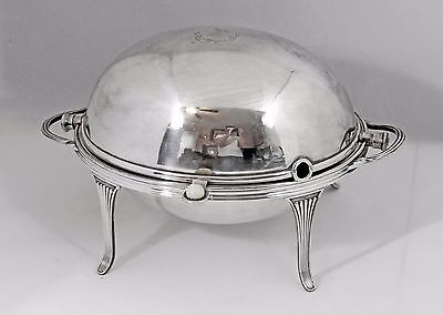 Antique English ~Silver Plate~ Roll Top Dome Tureen Breakfast Warmer VICTORIAN