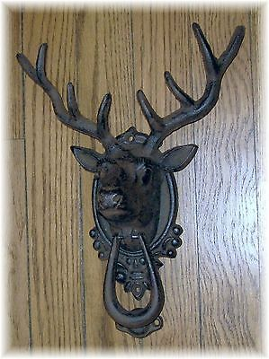Cast Iron DEER HEAD with ANTLERS Rustic Door Knocker 1461 Doorknocker ~ 4 Point