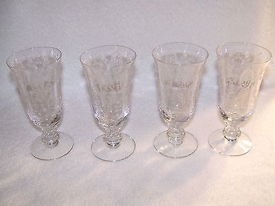 VINTAGE Tiffin  [ 4 June Night Glass Goblets ] Circa 1941-58