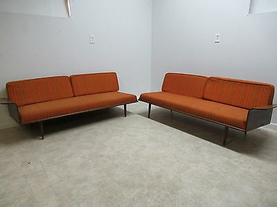Vintage 2 Piece Mid Century Danish Bent Wood Walnut Sofa Love Seat Couch