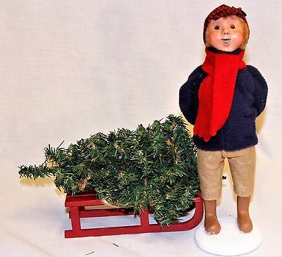 Byers Choice Winter Decorating Boy Caroler w/ Tree & Sled - News 2017