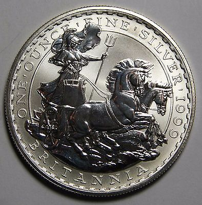 1999 UK BRITANNIA GREAT BRITAIN 1 OUNCE SILVER COIN - 2 POUNDS £2 Lot# N 455