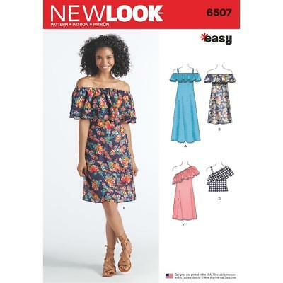 New Look Sewing Pattern Misses' Easy Off The Shoulder Dress & Top Xs-Xl 6507 New