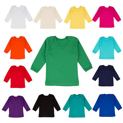 Long Sleeve Baby T-shirt Top Boys Girls 0-2 Years Envelope Neck 100% Cotton