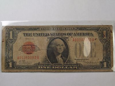 1928 Red Seal $1.00 US Note. Serial # A01353053A.  #45