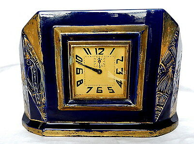 Pendulum Clock Year 1940 Ceramic Blue Gold Embellishment