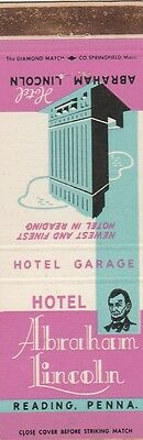 Vintage Hotel Matchbook Cover. Hotel Abraham Lincoln. Reading, Pa.