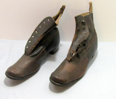 Men's High Button Shoes Antique Boots Victorian Brown Leather - Size 10