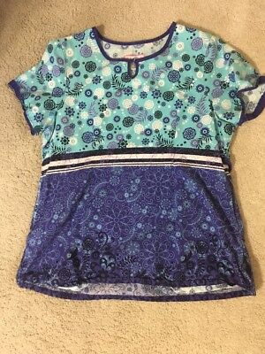 Koi Scrubs Top Large L Floral Blue Nurse Medical Uniform Shirt