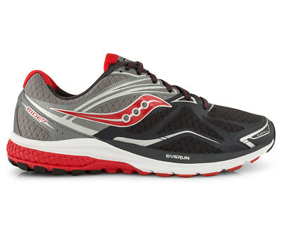 Saucony Men's Ride 9 2E Wide Fit Shoe - Grey/Charcoal/Red
