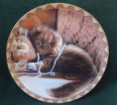 CAT KITTEN COLLECTOR PLATE Priscilla In Pearls 1994 Bradford Exchange