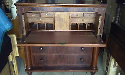 Antique Empire Style Drop Front Secretary With Key