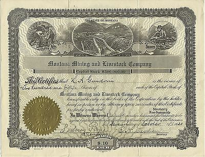 Vintage Stock Certificate MONTANA MINING & LIVESTOCK CO ISSUED 1930