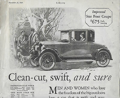Rare 1926 Star Cars/Durant Motors & Sellers Kitchen Cabinets Ads; Great Shape!