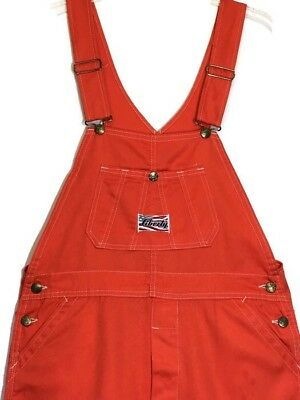 Liberty Overalls XL 35W Orange Button Fly Clemson Tennessee Grunge Rockabilly