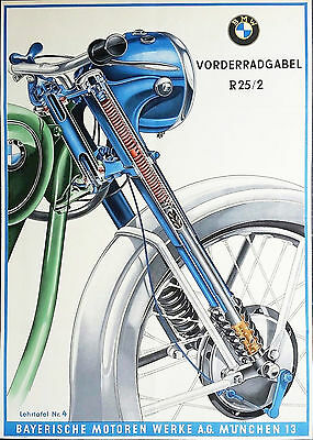 1954 Germen BMW R 25 Illustration Poster 13 x 19 Giclee print