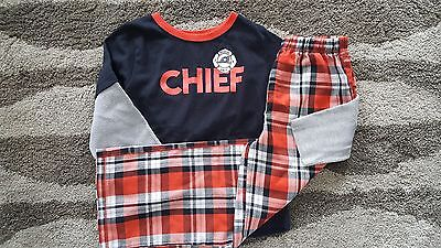 Carter's Boys Size 7 PJ/Pajama~Long Sleeve Shirt/Pants~Fire Chief~Great Cond!