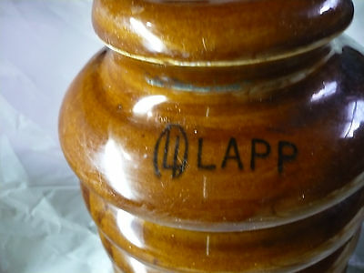 Lapp Insulator About 6 Inches Tall and 5 Inches Across Brown