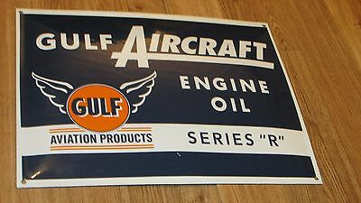 """Gulf Aircraft Engine Oil Series """"R"""" Porcelain Sign, Aviation Products, Reproduct"""