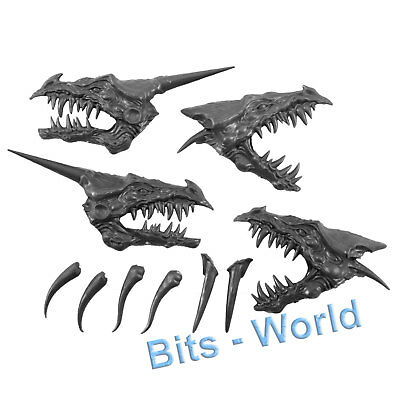 WARHAMMER BITS: DARK ELVES BLACK DRAGON - HEADS 2x