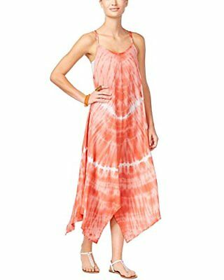 NWT Raviya Tie-Dyed Hankerchief Hem Cover-Up Dress Coral Size S,M,L,XL 74865TD