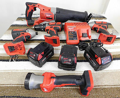 Milwaukee (x5) Tool 18 Volt Combo Kit w/ 3 battery & charger