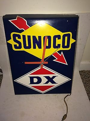Vintage 1960's/1970's Sunoco DX Gasoline Gas Electric Wall Clock,Sun Oil Company