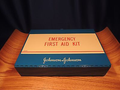 Vintage Johnson & Johnson Metal Container First Aid Kit-New/never Used