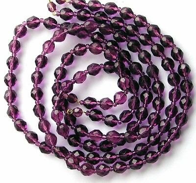 VTG 30 MAUVE PURPLE MILKY FACETED DROP BEADS 13MM #081117i Victorian charm