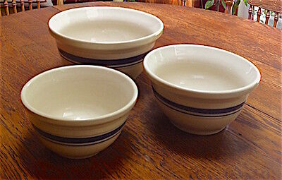 "Three Roseville Friendship Fp Usa Blue Stripe Pottery Bowls - Sizes 10"", 8"" & 7"""