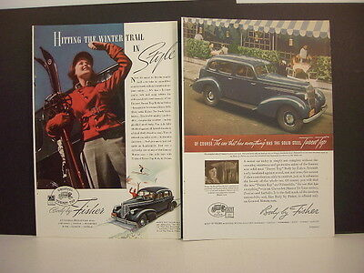 GENERAL MOTORS - BODY BY FISHER - Two Vintage 1930's GM Magazine Ads