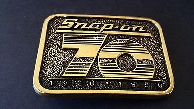 Vintage Collectible Snap On Tools 70th Anniversary Solid Brass Belt Buckle - Wra