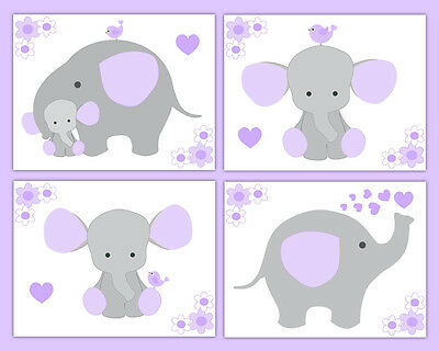 Nursery Prints Wall Art Baby Girl Elephant Lavender Purple Gray Safari Animals