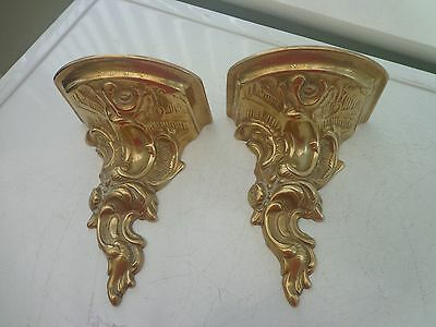 Two Vintage Brass Decorative Wall Stands/brackets