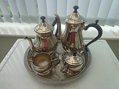 Vintage Ashberry Five Piece Silver Plated Tea Set Large Tray
