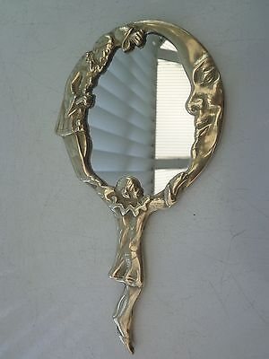 Vintage Brass Hand Mirror French Clowns Moon And Stars Decor