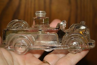 Antique Glass Fire Engine Candy Holder 5 inches. A2