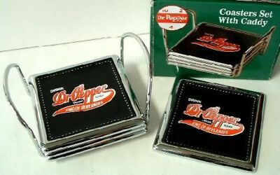 Dr Pepper Coasters Set With Caddy New in Box But Old Stock